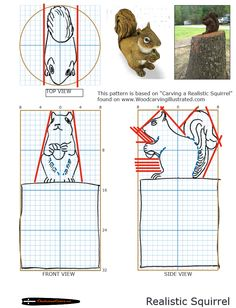 Chainsaw carving patterns free squirrel - would also work for a small rough-out