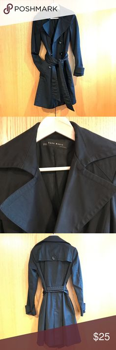 """Zara Trench Coat Black double breasted belted trench-coat from Zara. Classic style that is perfect for when you want to feel quickly and effortlessly pulled together. 40"""" length, 15.5"""" between shoulder seams. Women's size Small. A little padding in the shoulders for structure. Very good used condition. I bought this new and have only worn it a handful of times over the years. It's a great coat that is really flattering, but I'm always cold and always find myself opting for my warmer coats…"""