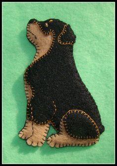 Rottweiler puppy Christmas ornament-slash-Refrigerator magnet. Handmade. Embroidered felt. Great dog gift idea