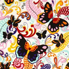 white butterfly fabric Papillon Alexander Henry USA
