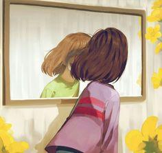 Frisk, Chara, mirror, reflection; Undertale
