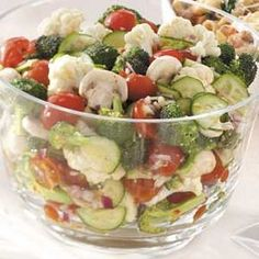 Marinated raw vegetable salad.  Colorful, healthy, and delicious.  These can also be made with a favorite Italian dressing.  So good!