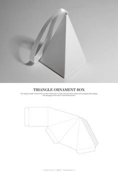 DIELINES II: The Designer s Book of Packaging Dielines Triangle Ornament Box FREE resource for structural packaging design dielinesTriangle Ornament Box FREE resource for structural packaging design dielines Packaging Dielines, Packaging Box, Paper Packaging, Jewelry Packaging, Packaging Design, Diy Gift Box, Diy Box, Gift Tags, Paper Box Template