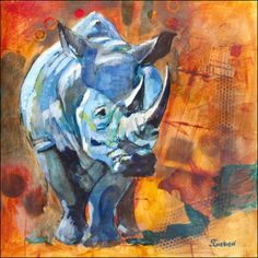 Rhino Romp by Sharon Sieben.  Pinned from emptyeasel.com.  The Complementary background orange really makes the rhino color stand out.  Also love the spontaneous look of the background textures.