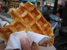 The Liège waffle is a richer, denser, sweeter, and chewier waffle. Native to the greater Wallonia region of Eastern Belgium - and alternately known as gaufres de chasse (hunting waffles) - they're an adaptation of brioche bread dough, featuring chunks of pearl sugar which caramelize on the outside of the waffle when baked. It is the most common type of waffle available in Belgium and prepared in plain, vanilla and cinnamon varieties by street vendors across the nation.