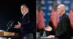 454 Headline: Mitt Romney keeps distance from Rick Scott in Florida. Large. Caption: Mitt Romney (left) is keeping Florida Gov. Rick Scott (right) at arms length. 10/20/12
