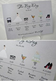 timeline programs - could be for all guests or more specific details for just the wedding party and close family