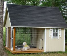 What a great dog house. Can go inside if they want, or out on the porch if they want and still contained without having to be on a chain. Plus no mud when it rains. - Decor It Darling #DogKennels