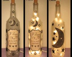 I love you to the moon and back Wine Bottle Light/Decor/Lamp/Lighting/Personalize