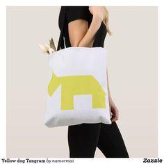 Yellow dog Tangram Tote Bag