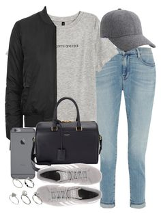 """Untitled #3508"" by hellomissapple ❤ liked on Polyvore featuring Frame Denim, H&M, Keds, Topshop, Yves Saint Laurent, adidas Originals, ASOS, women's clothing, women and female"