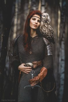 Fantasy Armor Photoshoot by Danila Neroznak, featuring Anna and her owl Senia