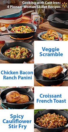 Have a friend who raves about cast iron in the kitchen? Try these four delicious recipes with the Pioneer Woman cast iron skillet and you will have the proof on your plate. The Pioneer Woman skillet has all the great heat-holding power of standard cast iron and makes it even better with super useful features like helper handles and pour spouts. Check out Ree's full line of affordable cookware & tableware online and in-store now.