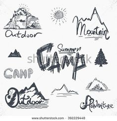 Clipart Of A Black And White Lineart Scout Camping Gear Royalty Free Vector Illustration By Visekart