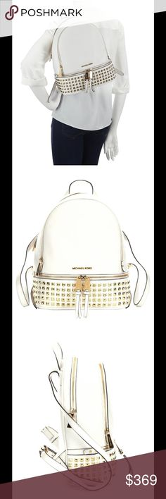 "MK Rhea Studded Optic Backpack NWT MK RHEA BACKPACK. THIS HAS THREE POCKETS TWO EXTERIOR AND ONE INTERIOR POCKET. THE STRAP 8-9"" Drop. MICHAEL Michael Kors Bags Backpacks"