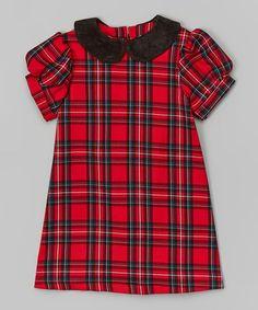 Love this Red Plaid Peter Pan Collar Dress - Toddler & Girls by Anna Bouché on #zulily! #zulilyfinds
