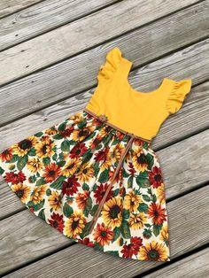 sunflower dress / floral dress / flutter sleeves dress / baby image 4 Source by helmaheidary Dresses African Dresses For Kids, Little Girl Outfits, Little Girl Dresses, Kids Outfits, Baby Dresses, Easter Dresses For Toddlers, Floral Dresses, Girls Dresses, Girls Frock Design