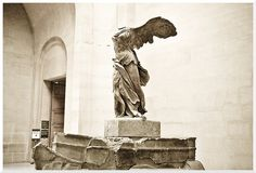 France. Paris. Musee Du Louvre.  La Victoire de Samothrace.  La Victoire sera invisible de septembre 2013 to the summer 2014.The Winged Victory of Samothrace, also called the Nike of Samothrace, is a second century BC marble sculpture of the Greek goddess Nike (Victory). Displayed at the Louvre, is one of the most celebrated sculptures in the world. Nike of Samothrace was discovered in 1863, but was estimated to have been created around 190 BC. The Greeks considered ideal beauty.