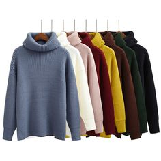 Simple Basic Sweater Women Winter Pullover Solid Knitted Sweater Top for Women Autumn Female Turtleneck Oversized Sweaters-in Pullovers from Women's Clothing & Accessories on Aliexpress.com | Alibaba Group