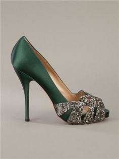 Emerald green Valentino peep toe silk pumps.....oh how perfect!