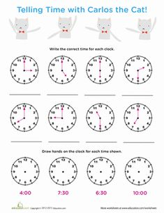 First Grade Time Worksheets: Time Review: Tell Time with Carlos Cat
