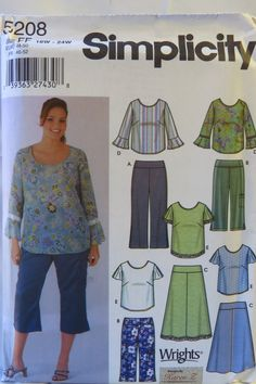 Simplicity 5208 Women's Pants in Two Lengths, Skirt and Top