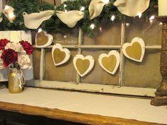 Valentine's Day Heart Banner, Rustic Wood Hearts, Ivory Metallic Gold Valentine Banner, Valentine Decoration, Farmhouse Decor Heart Banner