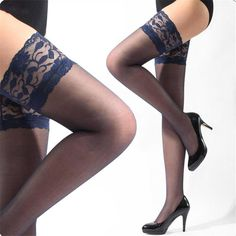 2014New Sexy Womens Lace Top Silicone Band Thigh High Stockings Pantyhose To_1 - Alternative Measures