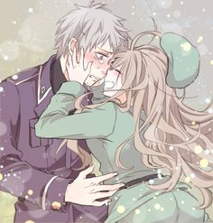 Hetalia, Prussia and Hungary, Prussia x Hungary. Oh my gosh, no Prussia, don't cry!! Hungary will cheer you up. :)