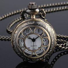 Vintage Skeleton Carved Pocket Watch Antique Style.