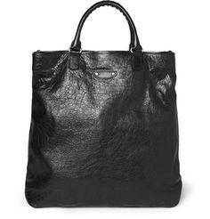 BalenciagaCreased-Leather Tote Bag|MR PORTER