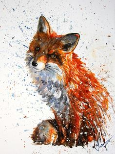 Love the creative use of color splatter in this fox painting (Fox Art Print by KOSTART Watercolor Animals, Watercolor Art, Watercolor Fox Tattoos, Watercolour Illustration, Lapin Art, Fuchs Illustration, Fox Pictures, Pictures For Sale, Drawn Art