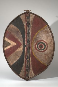 Maasai (Kenya), Shield, pigment/wood/hide, c. 1945.