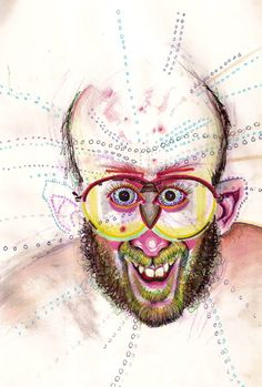Artists self portraits whilst on drugs -- Bryan Saunders mushrooms