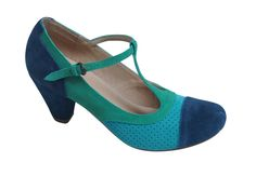 chelsea crew malibu blue color block suede t-strap perforated low heels 1940s retro shoes leather