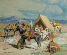 CAVALIERS AU CAMPEMENT RIDERS AT THE ENCAMPMENT von Edouard Edmond Doigneau