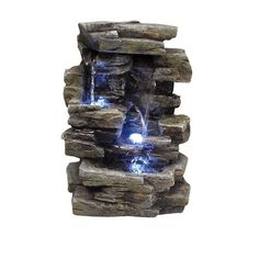 Bring A Serene, Natural Beauty Right To Your Home With This Alpine  Waterfall Tabletop Fountain. Includes LED Lights To Provide Gentle Ambient  Glow.