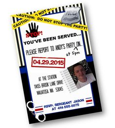 Police Officer Birthday Party invitation perfect by PinkPopRoxx, $17.00