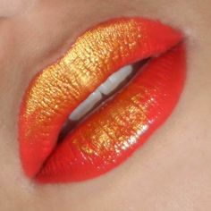 """Gold Dust"" Metallic #Ombre Lips  http://makeupbox.tumblr.com/post/32913401431/statement-metallic-ombre-lips-chinese-festival  #makeup #beauty #lipstick #coral"