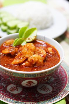 Prawn Sambal - I'm not sure if the dish is what I love so much or the dishes...I have these dishes!!!