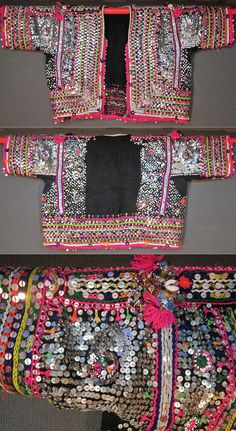 Front and rear of a women's 'pullu cepken' (jacket) from the Pomak villages near Biga (Çanakkale province), mid-20th c.  Handwoven fabric in combed wool, adorned with cotton embroidery, silver and gold zigzag ribbons, silvery cord, metallic & mica sequins, small glass beads, (cotton or orlon) pom-poms, shells, buttons.  Edged with cotton oya/lace, combined with sequins.  (Inv.nr. cep059  - Kavak Costume Collection - Antwerpen/Belgium).