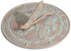 Whitehall Products Dragonfly Sundial, Copper Verdi, 2015 Amazon Top Rated Sundials #Lawn&Patio