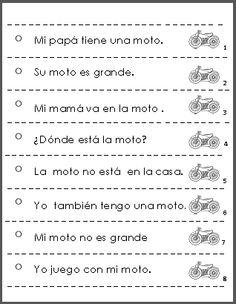 Fluency practice: Spanish sentence strips