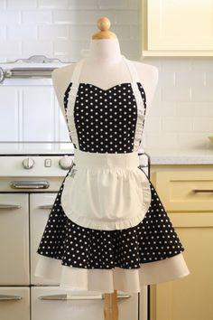 Apron French Maid Black and White Polka Dot with White Double Circle Skirt via Etsy