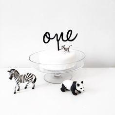Monochrome birthday party ideas, white cake, black and white party theme. first birthday cake topper.