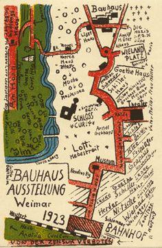 Bauhaus-Postkarten - Schmidt, Kurt Limbach 1901 - 1991 Gera Topographie Farb. Lithographie. 1923. 13,8 : 8,5 cm (14,0 : 9,5 cm). Im Stein mit Beschriftung.