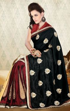 Picture of Pretty Black and Maroon Party Wear Saree