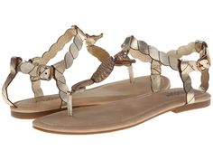 Lucky Brand - Chorse  Price: $56  Create a fun and feminine look in the Lucky Brand Chorse. Leather upper. Adjustable ankle strap with buckle closure. T-strap thong sandal construction. Man-made lining and insole. Flexible man-made outsole. Imported. Measurements: Heel Height: 1 2 in