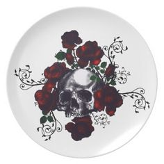 Skull and Roses Tattoo Style Goth Art Dinner Plates | Zazzle
