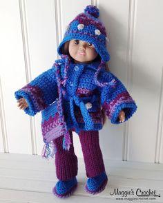 "Original Designs by Carol Ballard Skill Level : Intermediate Sizes: To fit 18"" Girl Doll. Materials: Worsted Weight Yarn : Doll Set Blue (MC) – 3½oz, 182yds; [98g, 168m] Purple (CC1) – 2½oz, 130yds; ["